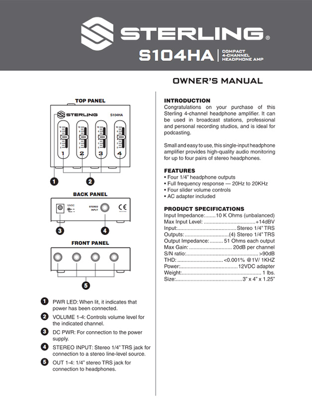 Sterling S104HA Manual