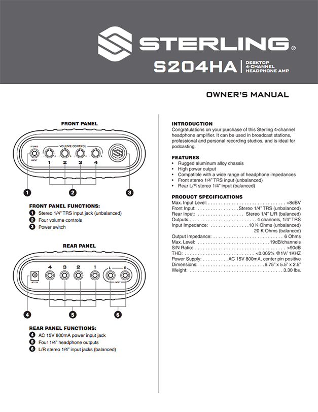 Sterling S204HA Manual